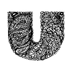 Letter U. Decorative Alphabet with a paisley zen doodle tattoo ornaments filling. Display font and numbers. Hand drawn letters in vintage style. Used for quote lettering.