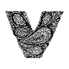 Letter V. Decorative Alphabet with a paisley zen doodle tattoo ornaments filling. Display font and numbers. Hand drawn letters in vintage style. Used for quote lettering.