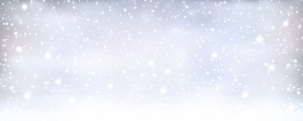 Abstract silver blue winter, Christmas banner with snowfall
