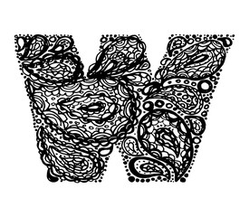 Letter W. Decorative Alphabet with a paisley zen doodle tattoo ornaments filling. Display font and numbers. Hand drawn letters in vintage style. Used for quote lettering.