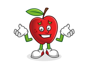 feeling sorry apple mascot. Vector of Apple character. Apple logo