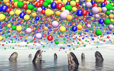 Auftauchende Fische und Luftballons