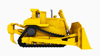 Bulldozer isolated on white background
