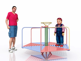 Mann, Kind und Kinderkarussell