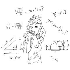 Meisje snapt niets van wiskunde toets