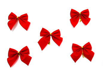 set of red ribbon bows on white background
