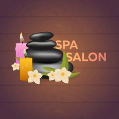 Spa salon banner with stones. Thai Massage. Wood texture. Vector illustration