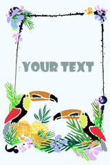 Tropical vector illustration with tropical elements, toucan.