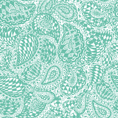 Geometric doodle seamless wallpaper pattern. Illustration with paisley ornaments and chess texture. Textile with hand-drawn checker elements.