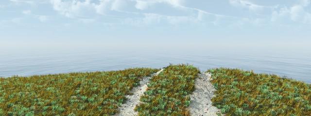 Fahrzeugspuren in einer Landschaft am Meer