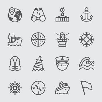 Port marine line icon