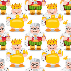 Seamless pattern with cartoon kings.