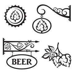 collection of four black icons with hops