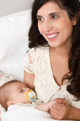 mother with baby portrait, happy maternity concept