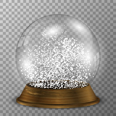 Crystal snow globe on wood stand. Transparent vector snowglobe with wood decoration.