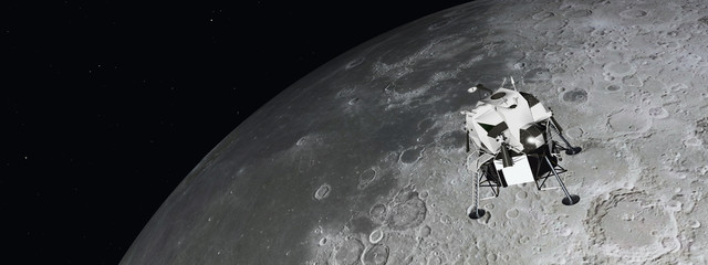 Mondlandefähre und Mond