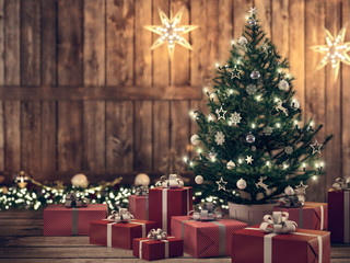 beautiful gift with Christmas tree. 3d rendering