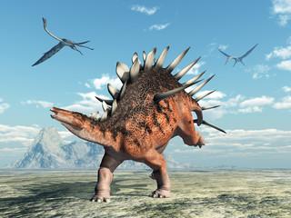 Dinosaurier Kentrosaurus und Flugsaurier Quetzalcoatlus