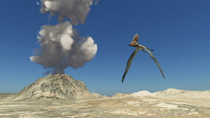 Flugsaurier Thalassodromeus und Vulkan