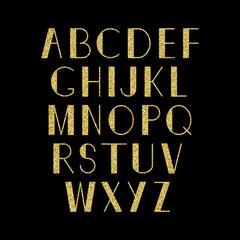 Vector golden alphabet.