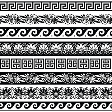 Ancient Greek pattern - senseless set of antique borders from Greece