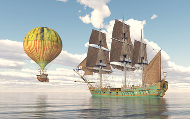 Fantasy hot air balloon and sailing ship