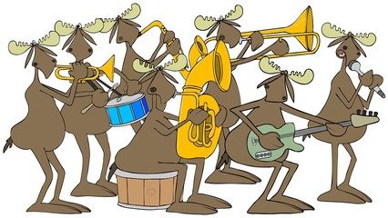 Illustration of a seven piece Bull moose band.