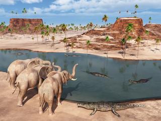 Elefanten und Krokodile am Wasserloch