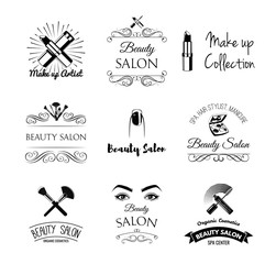 Set of stylish beauty salon emblems, labels and designed elements.