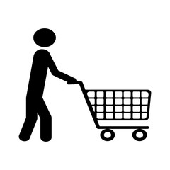 shopping cart and man pictogram icon image vector illustration design