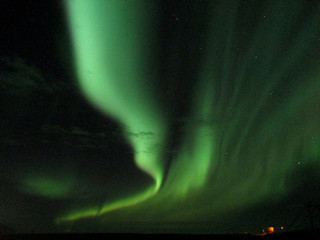 The awesome dancing aurora borealis, the Southern Part of  Iceland