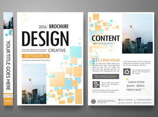 Brochure design template vector.Blue orange abstract square cover book portfolio presentation poster.City design on A4 brochure layout. Flyers report business magazine poster layout portfolio template