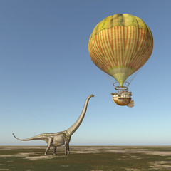 Fantasie Heißluftballon und der Dinosaurier Mamenchisaurus