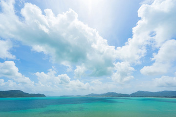 Background concept. View on Chalong bay  and sky with clouds shadows on the water. Thailand, Phuket.