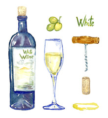 White wine bottle, wineglass, grapes, corkscrew, cork and stain, isolated set,  hand painted watercolor illustration