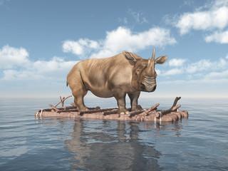 Nashorn auf einem Floß