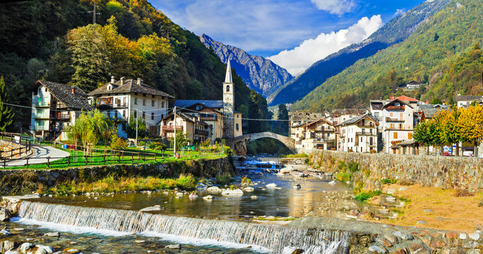Picturesque Alpine village Lillianes in Valle d'Aosta, North Ita
