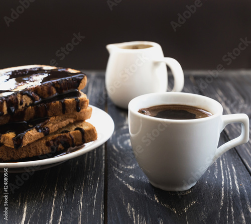 """Fresh Toast with hot chocolate and cup of espresso ..."