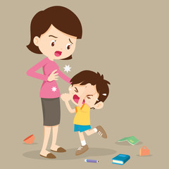 angry boy hitting him mother.Little angry boy crying and hitting mom.