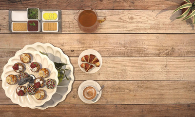 3d rendering nice meal consist of pastry and coffee on wooden table