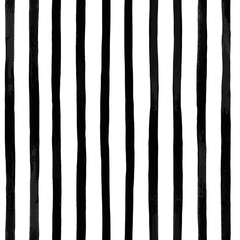 Abstract vector seamless pattern with vertical black and white striped. Vintage textured background