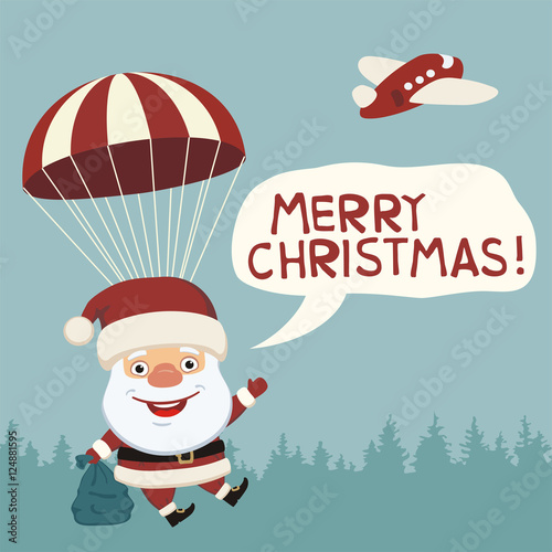 Merry Christmas! Funny Santa Claus flying on parachute with sack of ...