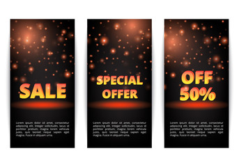 Set of banners New Year offers. Black Friday discounts. January sale. Online Marketing.