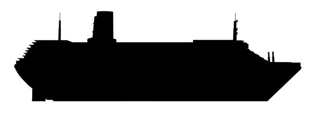 Silhouette eines Kreuzfahrtschiffes