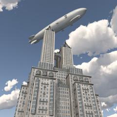 Zeppelin über einem Wolkenkratzer