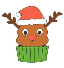 cute cartoon reindeer cupcake with santa claus hat holidays funny vector illustration