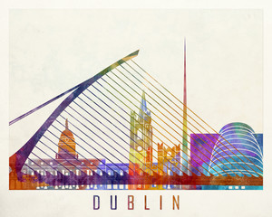 Wall Mural - Dublin landmarks watercolor poster