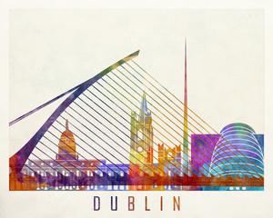 Fototapete - Dublin landmarks watercolor poster