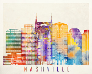 Wall Mural - Nashville landmarks watercolor poster
