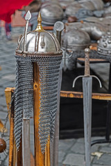 Armor and medieval weapons on display